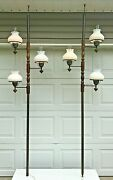 Pair Vintage Mcm Hurricane Tension Pole Hobnail Milkglass Brass Wood Lamp 8and039