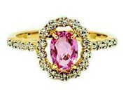 Ring Hot Pink Sapphire And Diamond Halo Oval Shape .86 Ctw 18k Yellow Gold Size 7