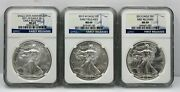 Lot Of 3, Ngc Ms69 Certified 2011 W, 2012 W, And 2013 American Silver Eagles