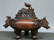 16.4 Marked Old Chinese Purple Bronze Dynasty Flower Mouse Beast Ears Censer