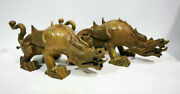 15.2 Ancient Chinese Spring And Autumn Period Bronze Ware Dragon Statue Pair