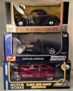 3 New 1/24 Die Cast Model Cars.maisto, Motor Works And Motor Max Free Ship