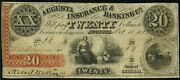 Obsolete Currency 1853 Augusta Ga - Augusta Insurance And Banking Co. 20