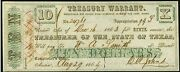 Obsolete Currency Aug. 29 1864 Austin Tx- State Of Texas Treasury Warrant 10