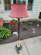 Stunning Vintage Floor Lamp With Houze Glass Shade/deflector