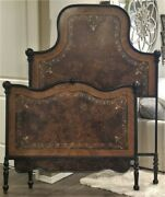 Antique 1890 French Italian Iron Double Bed Original Paint Mother Of Pearl Inlay