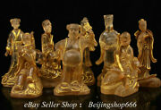 10 Collect Old Chinese Crystal Gilt Fengshui Eight Immortals Statue Set