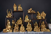 8 Collect Old Chinese Bronze Gilt Fengshui 18 Lohan Arhat Statue Set
