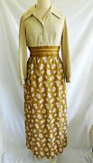 Vintage 60s Maxi Dress Evening Gown Gold Metallic Mixed Print Saks Fifth Ave