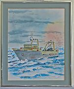 Alaska Trawler Vintage Watercolor Painting Fishing Boat Brewers Commercial