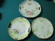 Antique Curio China Cabinet German And Limoges Plates And Tray Lot Of 3 Pcs