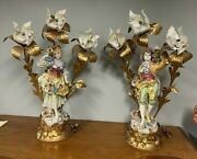 Pair Of Monumental 33 Capodimonte Figural Table Lamps