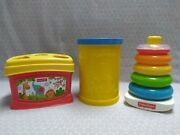 Fisher-price Shape Sorter Bucket Lot 1977 Rock-a-stack Ring Toy