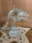 Large Murano Italian Controlled Bubble Dolphin Sculpture On Base 11.75andrdquo High