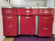 Fabulous Vintage Red Tracy Metal Kitchen Cabinets W Stainless Steel Sink