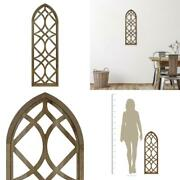 Stratton Home Decor Farmhouse Arched Natural Wood Window Panel Wall Decor