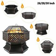 Fire Pit Heater Backyard Wood Burning Patio Deck Stove Fireplace Outdoor W/cover