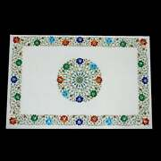 3and039x2and039 White Marble Table Top Stone Inlay Center Coffee Malachite Antique Kr