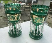 Pair Of Antique Victorian Art Glass Mantle Lusters Emerald Green And Gilt W Prisms