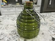 Olive Green Coated Glass 6.75 Bee Wasp Fly Catcher Insect Trap W/cork Look