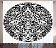 Lunarable Aztec Curtains, Mayan Calendar End Of The World Prophecy Mystery Cool