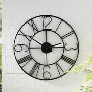 Better Homes And Gardens Black Metal Outdoor Decorative Hanging Clock Wall Art