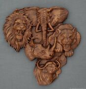 Africa Animals Contour Of The Continent Carved Panel Natural Wood Beech Emblem