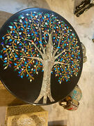 30'' Black Marble Coffee Center Sofa Table Top Antique Inlay Mosaic Wall Decor