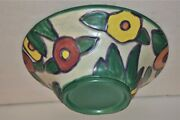 Vintage Pottery Huge Flared Pottery Bowl Flowers Rookwood Weller Clarice Cliff