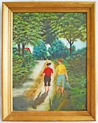 Folk Outsider Naive Primitive Painting Country Boys Walk Home From Fishing Owen