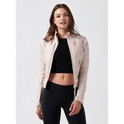 Nwt Blanc Noir Pink Quilted Leather Mesh Moto Jacket Zip Up Corset Tie Size S