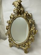 Vintage Large Rococo Style Hand Carved Gilt Wood Wall Mirror Approx 3' X 2' Wow