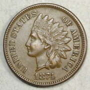 1874 Indian Cent, Almost Uncirculated, Better Date, Obverse Die Crack 0528-02