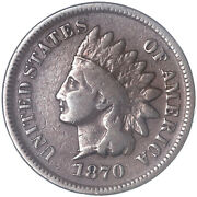 1870 Indian Head Cent Very Good Penny Vg See Pics J298
