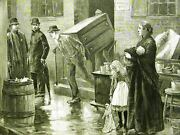 Nyc Tenement Family Eviction Girl Doll 1890 Antique Art Print Engraving Matted