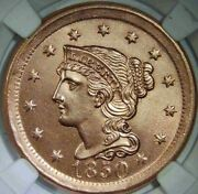 1850 Braided Hair Large Cent - Uncirculated - Details - Free Insured Shipping