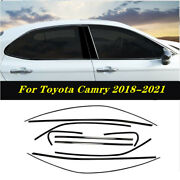 2018-2021 Black Steel Car Window Strip Cover Trim 10pcs Fit For Toyota Camry