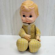Vintage Fisher Price Toys 1975 Baby Doll Blonde Blue Eyes Yellow Floral 12