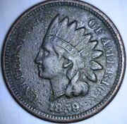 1859 Indian Head Cent Strong Liberty 1st Year Of Issue Copper Nickel Penny Dark