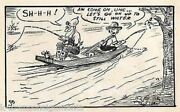 Old Man And Country Boy Gone Fishing Lake Boat Original Signed Ink Cartoon Sketch