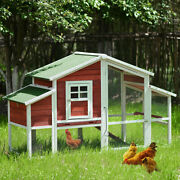 77.9andrdquo Bunny Hutch W/run Rabbit Pet House Hen Chicken Coop Wood Small Animal Cage