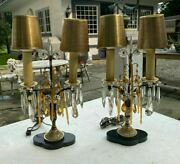 Pair Of Antique French Candelabra Table Lamps Amber Glass Prisms Marble Bases