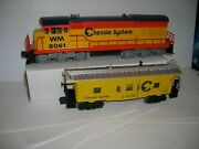 Lionel 6-8061 And 6-9328 Chessie U36c Diesel And Bw Caboose Lot 21274