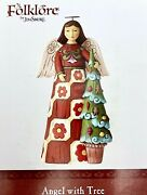 Jim Shore Hand Painted Folklore Angel With Christmas Tree Figurine 6001448