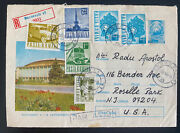 1969 Bucarest Romania Airmail Registered Stationery Cover To Roselle Park Nj Usa