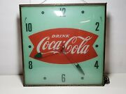 50s Vintage Green Coca-cola Fish Tail Advertising Clock Sign Pam Electric Clock