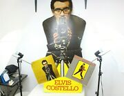 Vintage Huge 60 Elvis Costello Stand Up Record Store Advertising Display Sign