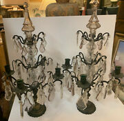 Pair Of French Style Girandole Four Candle Table Lights With Cut Crystal Prisms