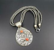 Navajo Larry M Chavez Sterling Silver Red Coral Dragonfly Huge Pendant Necklace