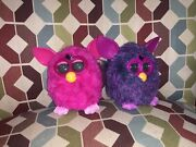 2 Furby Boom Lot Hot Pink A0008 And Voodoo Purple A0003 Working Needs Batteries